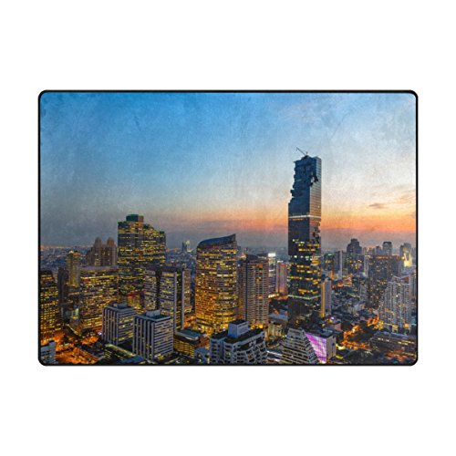 ColourLife 80 x 58 inch Lightweight Area Rug Mat for Kids Playing Room Home Decor Indoor Floor Rugs Bangkok Cityscape (Furniture Outdoor Bangkok)