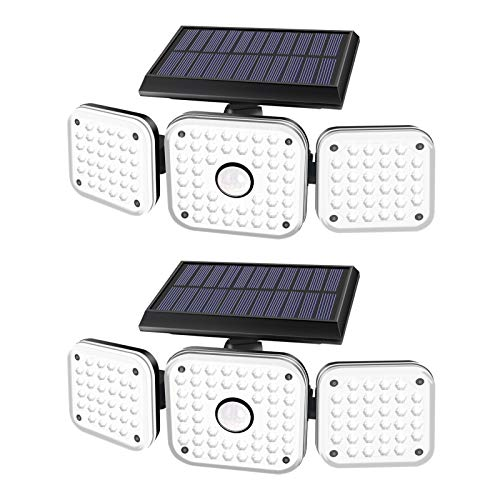 efiealls Solar Lights Outdoor, 3 Heads 112LED Security Solar Flood Lights, 270° Wide Angle Illumination Outdoor Lights Motion Sensor & 3 Lighting Modes for Porch Garden Garage Yard Patio(Black-2 Pack)