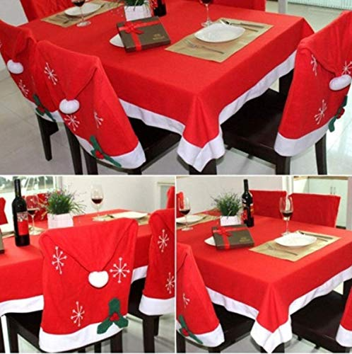 Christmas Tablecloth + 6 PCS Santa Hat Chair Covers for Dining Room (RED, 70