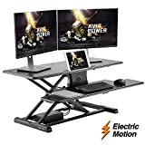 AVLT-Power Dual Monitor Electric Sit-Stand Workstation Extra Large 28'x 24' Spacious Worksurface Motorized Automatic Height Adjustable Sit Stand Table Sturdy Small Footprint Huge Keyboard Tray