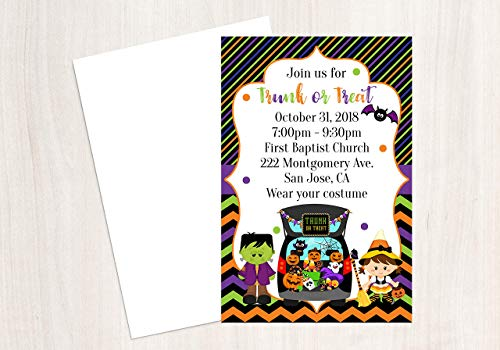 Trunk or Treat Invitation, Halloween Invitation, Halloween Party, 25 Invitations with Envelopes, 4x6 Invitation ()