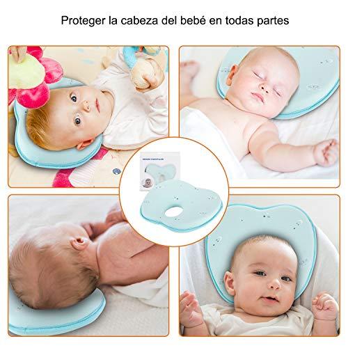 Almohada Bebé Cojín Cuna para Plagiocefalia Ortopédica de Memoria (Verde)
