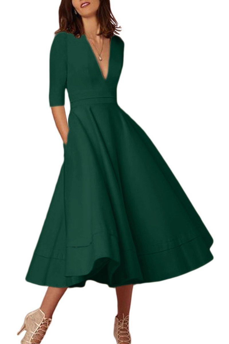 YMING Wedding Prom Dress for Women Comfy Half Sleeve Evening Prom Dress Green M