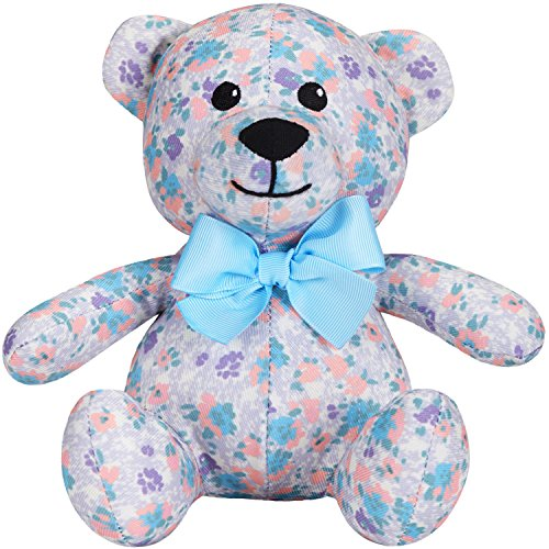 Blueberry Pet Gift Toys for Puppies & Dogs, 6, Made Well Lovely Floral Print Lavender Happy Bear Designer Squeak Plush Small Dog Toy