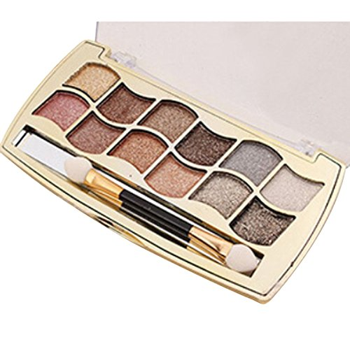 Molyveva Hot 12 Colors Women Shimmer Eyeshadow Pro Palette & Cosmetic Brush Makeup Set (Old Lady Halloween Makeup Tutorial)
