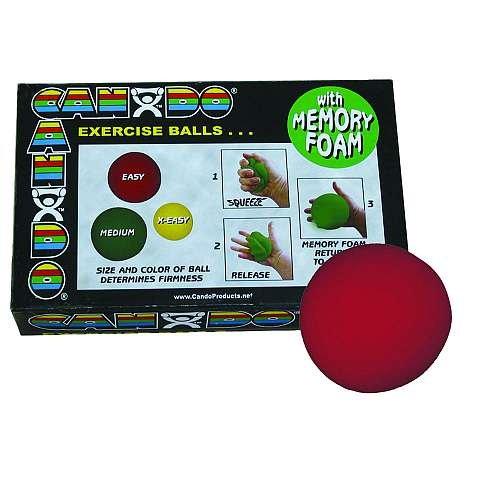 Cando 10–0777–12 Memory Foam Ball Trainingsgerät, 7,6 cm Durchmesser, Easy, rot