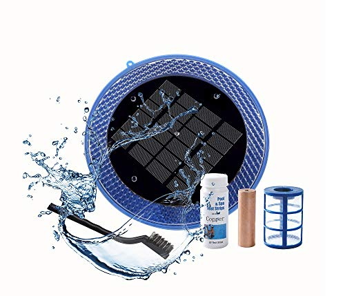 Powered Solar Natural - BLUE WORKS Solar Powered Natural Pool Clear Purifier with Copper Anode up to 45,000 Gallons