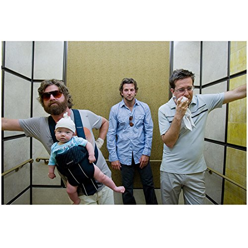 The Hangover 8 inch x 10 inch PHOTOGRAPH Alan Wearing Sunglasses Holding Baby Stu with Handkerchief Upset and Phil Annoyed in Elevator Mid - Sunglasses Elevator