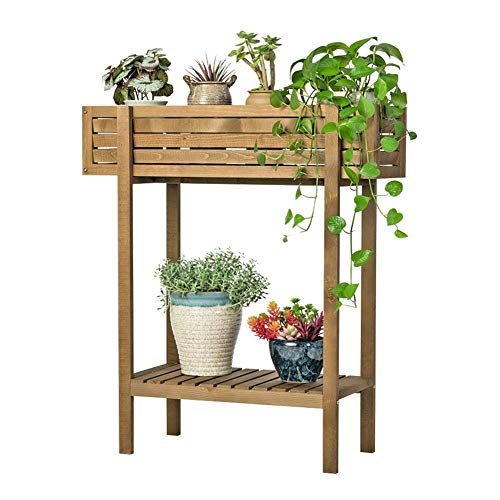 (CWJ Flower Stand -Multifunction Shelf Groove Type Solid Wood Flower Pot Stand Balcony Decorative Shelf Living Room Plant Indoor and Outdoor Flower Pot Holder,60×30.5×72.2cm)