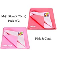BeyBee Waterproof Baby Bed Protector Dry Sheet for New Born Babies Gifts Pack, (Medium Combo of 2, Coral/Pink)