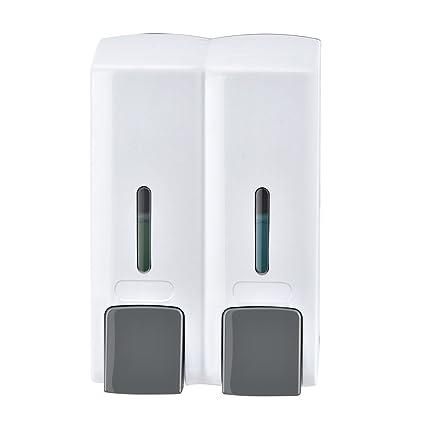 Dispensador de jabón ZQ cubeta doble para hotel, no perforado, para uso en el
