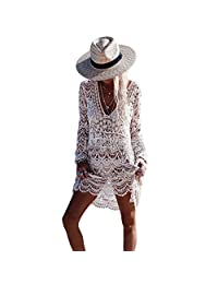 Beach Blouse,iBaste Beige Hook Long Sleeve Beach Skirt Beachwear For Summer