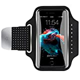 Water Resistant Armband, Atmoko Running Cell Phone Armband for iPhone X/8/7/6S/6, Samsung Galaxy S8/S7/S6/S5/S7 Edge/S6 Edge, for Smarphones up to 5.2in, with Reflective Strap, Black