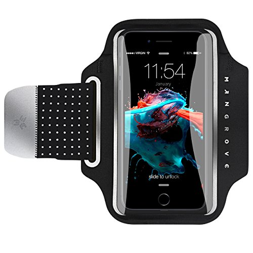 Water Resistant Armband, Atmoko Running Cell Phone Armband for iPhone X/8/7/6S/6, Samsung Galaxy S8/S7/S6/S5/S7 Edge/S6 Edge, for Smarphones up to 5.2in, with Reflective Strap, Black by ATMOKO