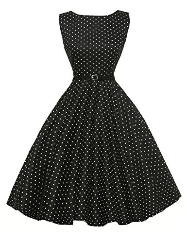 Boat Neck Vintage Tea Dresses for Women 1950s Retro Size XL F-3