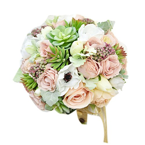 "Yokoke Wedding Bridal Bridesmaid Bouquet Wedding Holding Flower Artificial Peony Rose Green Succulent Berry 7"" for Wedding Church Party Home Decor (Bouquet)"
