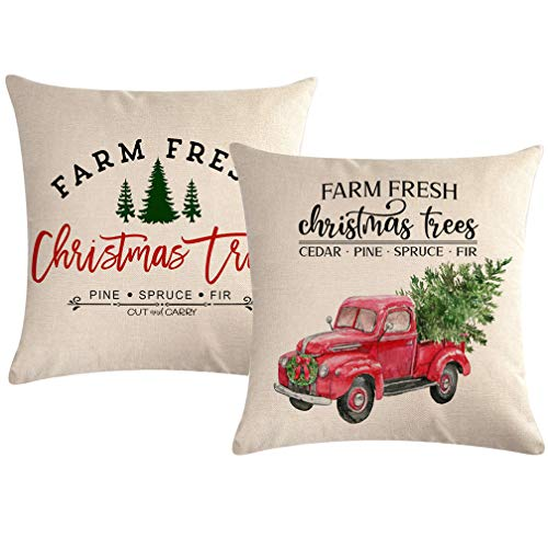 ULOVE LOVE YOURSELF 2Pack Christmas Throw Pillow Covers 18x18 Inch for Couch/Sofa/Porch Farm Fresh Xmas Tree with Red Truck Home Decorative Pillow Cushion Cover Square Pillowcases (Tree Christmas Farm Shell's)