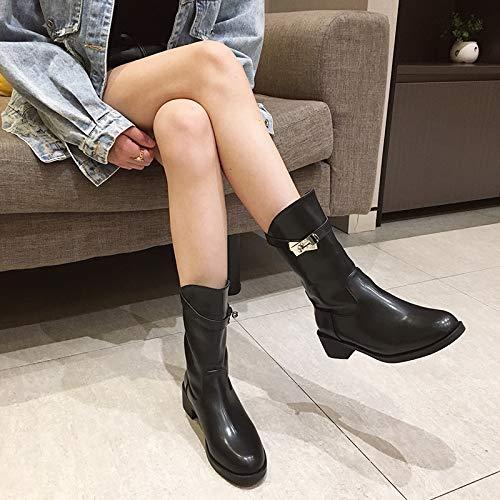 HRCxue High Stiefel Heels Damen Stiefel Straight Stiefel High Flat Heel Stiefel Knight Stiefel 36bae1