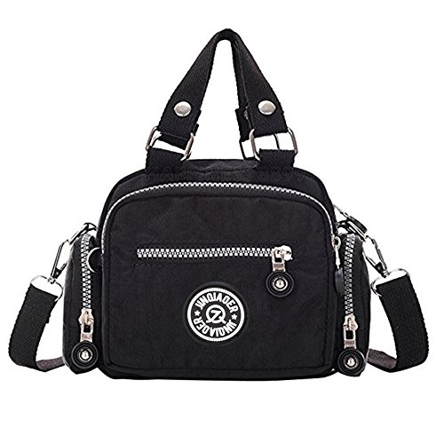 Women Messenger Bag, Rcool Classic Waterproof Nylon Handbag Shoulder Diagonal Bag Messenger Bag Cross Body Bag Black