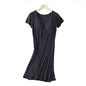 9228d03fcb4bc THUNDERSTAR Women s Modal Built in Bra Padded Nightgown Sleepwear Short  Sleeves Shirt Sleepdress