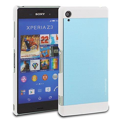 Xperia Z3 Case, Motomo [INO Metal] Low-Profile Slim Polycarbonate Brushed Aluminum Metal Anti-Scratch Slimfit Cover Case [Sky Blue/White] - Sony Xperia Z3 Case