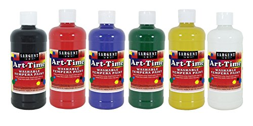 Sargent Art 16 Ounce Bottles, 6 Art-Time Washable Tempera Paint, 17-3406 6 Piece