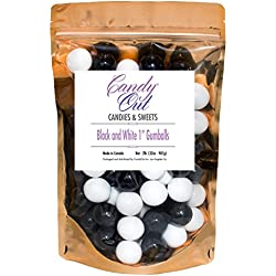 Black and White 1 Inch Gumballs 2lb in Stand-up Bag