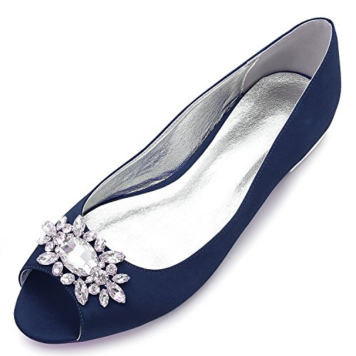 (MarHermoso Womens Peep Toe Flats Elegant Dark Blue Satin Wedding Bridal Ballet)