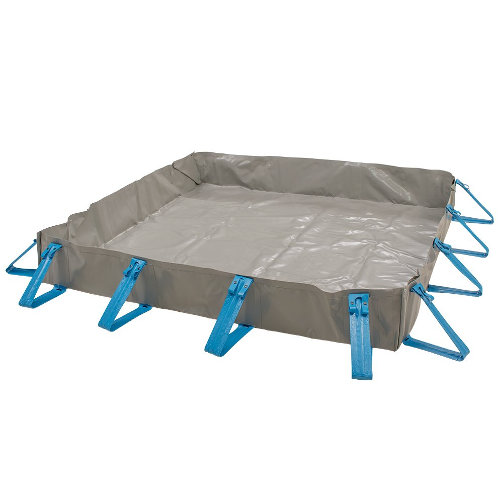 AIRE Industrial A911-101012E Portable Ultra Economy Containment Quick Snap Berm, 10'L x 10'W x 1'T, Gray