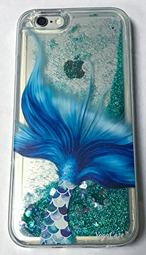 IPhone 6 / 6s Case, YogaCase Liquid Glitter Back Protective Cover (Mermaid Tale) (Iphone 6 Cases Koi Fish)