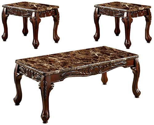 HOMES: Inside + Out IDF-4487BR-3PK Marin 3 Piece Table Set, Brown Faux Marble ()