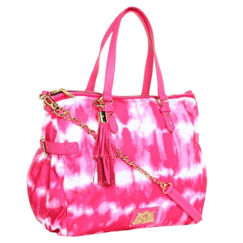Juicy Couture Nylon Lauryn Zip Top Tote,Pink Tie Dye,One Size, Bags Central
