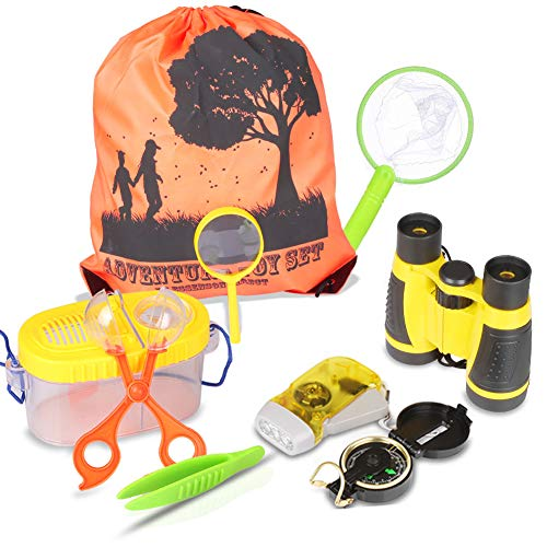 Outdoor Explorer Kit & Bug Catching with Binoculars, Flashlight, Compass, Magnifying Glass, Bug Catcher Set, Butterfly Net and Backpack Great Kids Gift for Camping, Hiking, Educational and Pretend
