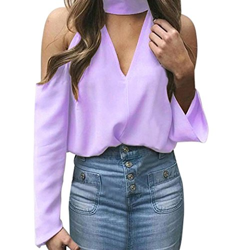 vermers Clearance Sale Fashion Tops for Women Sexy Off Shoulder Long Sleeve Halter V-Neck T Shirts Blouses(M, Purple)