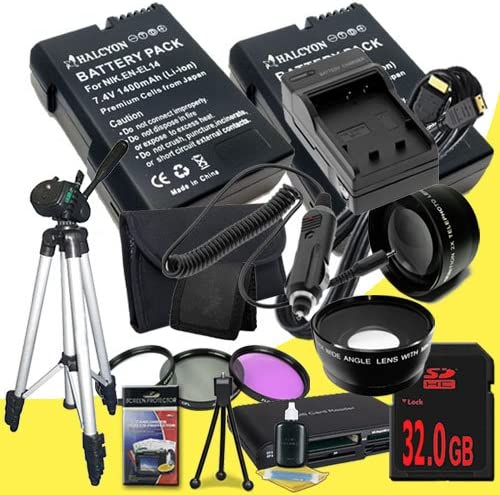 D3200 D5100 Digital SLR Cameras EN-EL14 Fully Decoded Replacement Lithium Ion Battery Mini HDMI Cable 52mm 3 Piece Filter Kit 32GB SDHC Class 10 Memory Card External Rapid Charger 52mm Wide Angle // Telephoto Lenses Two Nikon D3100 Full Size T