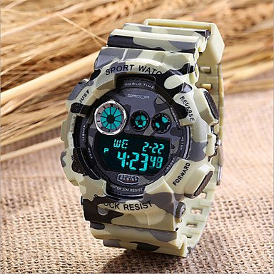 Gray Chronograph Alarm (Fashion Watches Men's Military Sport Watch Japanese Quartz Digital LED/Calendar/Chronograph/Water Resistant/Alarm (Assorted Colors) ( Color : Gray , Size : One Size ))
