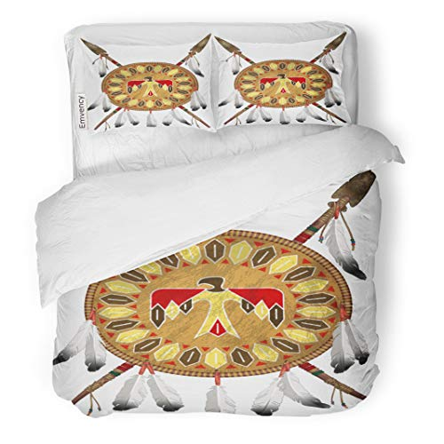 Semtomn Decor Duvet Cover Set Twin Size Tribal Native American Indian Shield and Spears Bow Pattern 3 Piece Brushed Microfiber Fabric Print Bedding Set Cover