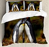 Animal Duvet Cover Set King Size by Ambesonne, Penguin Couple Cuddling in Wild Nature Love Affection Romance Falkland Islands Fauna, Decorative 3 Piece Bedding Set with 2 Pillow Shams, Multicolor