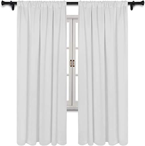 SUO AI TEXTILE Blackout Room Darkening Curtains Thermal Insulating Window Drapes Solid Rod Pocket Top Window Curtain Panels Light Reducing Drapery,52Wx84L,Greyish,2 Curtain Panels