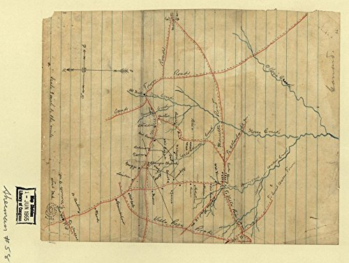 1864 Map of part of Cobb County, Georgia, showing roads to the west - Cobb Georgia West