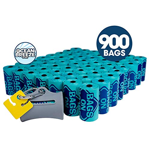Bags on Board Odor Control Dog Poop Bags and Dispenser | Strong, Leak Proof Dog Waste Bags | Ocean Breeze Scent | 9 x14 Inches, 900 Waste Pickup Bags