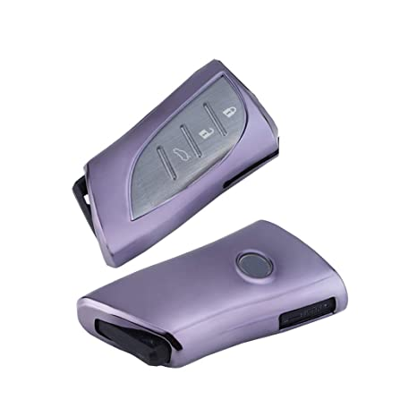 Purple 5 BTN Smart Remote Key Case Cover Holder Fob Key chains fit for Cadillac