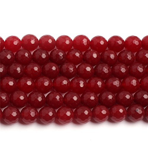 (Frederick A. Farley 10mm Round Faceted Red Jade Semi Precious Gemstone Loose Beads for Jewelry Making Strand)