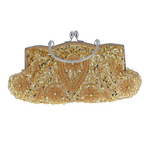 Generic Donne Nuziale Matrimonio Pochette da Giorno Perline Borsa Portafoglio Borsetta per Prom Cocktail Partito Oro