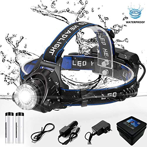 headlight 6000 lumen T6/L2 3 modes Zoomable lamp Waterproof Head Torch flashlight Head lamp use 18650,T6-3800 Lumen,China ()