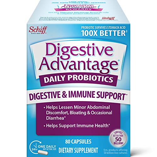 Daily Probiotic Capsule - Digestive Advantage 80 Capsules, Survives 100x Better, Lessens Bloating, Calcium, Promotes Digestive Health and Gut Flora (B01ND16K2I)
