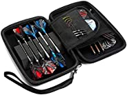 Harrows Fire Blaze 6 Dart Case, Dart Wallet Holds 6 Assembled Darts with 8 Storage Compartments and 1 Accessor
