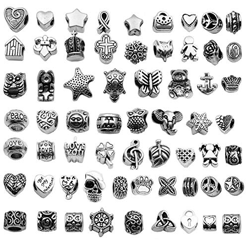 60 Pcs Mix Tibetan Silver Tone Color Spacer Loose Beads for European Charm ()