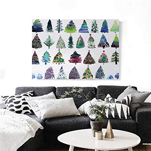 homehot Christmas Art-Canvas Prints Big Collection of Watercolor Christmas Fir Trees Artistic Abstract Silhouettes Modern Wall Art for Living Room Decoration 28