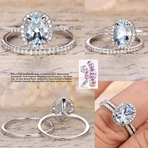 Oval Aquamarine Engagement Ring Sets Pave Diamond Wedding 14K White Gold - Wedding Aquamarine Set